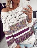 billige T-skjorter til damer-Dame Stripet Langermet Løstsittende Pullover Genserjumper, Rund hals Lilla / Blå / Brun S / M / L