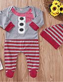 זול אוברולים טריים לתינוקות-מקשה אחת One-pieces שרוול ארוך פסים / חג מולד בסיסי בנות תִינוֹק