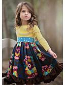 ราคาถูก เดรสเด็กผู้หญิง-เด็ก เด็กผู้หญิง สไตล์น่ารัก ลายดอกไม้ แขนยาว ยาวถึงเข่า กระโปรงชุด สีน้ำเงินกรมท่า / ฝ้าย