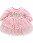 Χαμηλού Κόστους Βρεφικά φορέματα-Μωρό Κοριτσίστικα Βασικό Γεωμετρικό Μακρυμάνικο Φόρεμα Λευκό