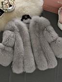 billige Kvinner Fur & Faux Fur Coats-Dame Daglig Høst vinter Normal Faux Fur Coat, Ensfarget V-hals Langermet Fuskepels Hvit / Rosa / Grå