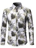 billige Herreskjorter-Skjorte Herre - Blomstret / Geometrisk, Trykt mønster Grunnleggende Tropisk blad Navyblå