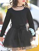 זול שמלות לבנות-שמלה שרוול ארוך אחיד שחור בנות ילדים / פעוטות