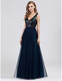 זול שמלות נשף-גזרת A צווארון V עד הריצפה טול / נצנצים ערב רישמי שמלה עם נצנצים על ידי LAN TING Express