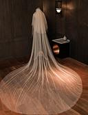 ราคาถูก ม่านสำหรับงานแต่งงาน-Two-tier คลาสสิกและถาวร ผ้าคลุมหน้าชุดแต่งงาน ผ้าคลุมหน้าในโบสถ์ กับ ไข่มุกเทียม / ไม่มีลาย 181.1 นิ้ว (460ซม.) Tulle