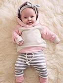 billige Sett med babyklær-Baby Jente Fritid / Aktiv Fargeblokk / Lapper Lapper Langermet Normal Tøysett Rosa