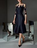 olcso Örömanya ruhák-Női Elegáns Csipke Hüvely Ruha - Csipke, Virágos Térdig érő Aszimmetrikus
