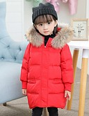 povoljno Jakne i kaputi za djevojčice-Djeca Djevojčice Osnovni Jednobojni Pernata i pamučna podstava Crn