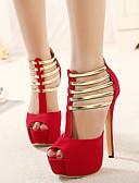 povoljno Večernje haljine-Žene Cipele na petu Stiletto potpetica Peep Toe PU Jesen zima Crn / Crvena