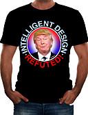 baratos Camisetas & Regatas Masculinas-Homens Camiseta Básico Retrato Preto
