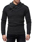 ราคาถูก เสื้อเชิ้ตผู้ชาย-สำหรับผู้ชาย ไม่เป็นทางการ / พื้นฐาน เสวทเชิร์ท สีพื้น