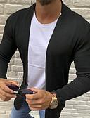 baratos Suéteres & Cardigans Masculinos-Homens Sólido Manga Longa Tamanho Europeu / Americano Bolero Camisola Jumper, Sem Colarinho Preto / Branco / Cinzento US32 / UK32 / EU40 / US36 / UK36 / EU44 / US38 / UK38 / EU46