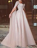 Χαμηλού Κόστους Βραδινά Φορέματα-Γραμμή Α Καρδιά Ουρά Σιφόν Κομψό Επίσημο Βραδινό Φόρεμα 2020 με Χάντρες