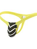 baratos Moda Íntima Exótica para Homens-Homens Básico G-string Underwear - Normal 1 Peça Cintura Baixa Preto Branco Amarelo M L XL
