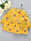 baratos Vestidos para Bebês-bebê Para Meninas Activo Estampado Estampado Manga Longa Acima do Joelho Vestido Rosa