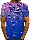 cheap Men's Tees & Tank Tops-Men's Daily Beach Street chic / Exaggerated T-shirt - Color Block / 3D Print Royal Blue