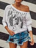 billige Bluser-T-skjorte Dame - Grafisk, Lapper / Trykt mønster Grunnleggende Svart