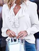 billige Skjorter til damer-Bluse Dame - Ensfarget Grunnleggende Hvit