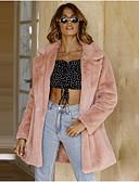 povoljno Ženske kaputi od kože i umjetne kože-Žene Dnevno Zima Normalne dužine Faux Fur Coat, Jednobojni Klasični rever Dugih rukava Umjetno krzno Blushing Pink
