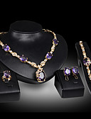 cheap Women's Blouses-Women's Stud Earrings Pendant Necklace Bracelet Cut Out Luxury Unique Design Fashion Gold Plated Earrings Jewelry Purple For Wedding Party Holiday 1 set / Bridal Jewelry Sets / Open Ring