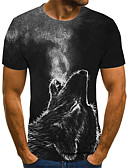 baratos Camisetas & Regatas Masculinas-Homens Camiseta Moda de Rua Pregueado / Estampado, Geométrica / 3D / Animal Lobo Cinzento Escuro