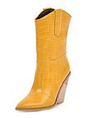 baratos Vestidos de Noite-Mulheres Botas Cowboy / Western Boots Salto Robusto Dedo Apontado Couro Ecológico Botas Curtas / Ankle Outono & inverno Preto / Branco / Amarelo / Festas & Noite