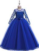 Χαμηλού Κόστους Λουλουδάτα φορέματα για κορίτσια-Πριγκίπισσα Μακρύ Μήκος Φόρεμα για Κοριτσάκι Λουλουδιών - POLY / Πολυεστέρας / Βαμβάκι / Δαντέλα Μακρυμάνικο Με Κόσμημα με Σχέδιο Πεταλούδα / Χάντρες / Διακοσμητικά Επιράμματα