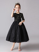 זול שמלות לילדות פרחים-גזרת A באורך הקרסול שמלה לנערת הפרחים  - תחרה / טול / קטיפה חצי שרוול עם תכשיטים עם פפיון(ים) / Paillette על ידי LAN TING Express