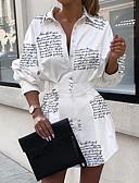 Χαμηλού Κόστους Print Dresses-Γυναικεία Κομψό Γραμμή Α Φόρεμα - Γράμμα Ασύμμετρο