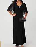 olcso Örömanya ruhák-A-vonalú Scoop nyak Földig érő Sifon Örömanya ruha val vel Gyöngydíszítés / Fodrozott által LAN TING Express