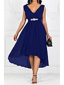 Χαμηλού Κόστους Γυναικεία Φορέματα-Γυναικεία čvrsta Boja Γραμμή Α Φόρεμα - Μονόχρωμο Μακρύ Λαιμόκοψη V / Μεγάλα Μεγέθη