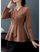 olcso Női pulóverek-Női Egyszínű Hosszú ujj Extra méret Pulóver Pulóver jumper, V-alakú Ősz / Tél Fekete / Bíbor / Rubin L / XL / XXL