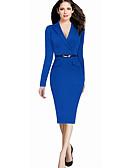 Χαμηλού Κόστους Επαγγελματικά Φορέματα-Γυναικεία Βασικό Κομψό Σε γραμμή Α Θήκη Φόρεμα - Μονόχρωμο Ως το Γόνατο