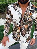 billige Herreskjorter-Skjorte Herre - Blomstret Grunnleggende Svart