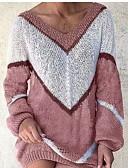 olcso Női kesztyűk-Női Színes Hosszú ujj Pulóver Pulóver jumper, V-alakú Arcpír rózsaszín / Medence / Lóhere S / M / L