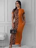 baratos Vestidos Longos-Mulheres Bainha Vestido Leopardo Longo