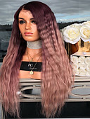 baratos Vestidos Plus Size-Perucas sintéticas Kinky Liso Parte do meio Peruca Longo Vermelho Escuro Cabelo Sintético 26 polegada Mulheres Feminino Marrom Escuro
