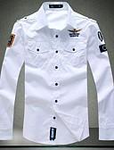 ราคาถูก เบลเซอร์ &สูทผู้ชาย-สำหรับผู้ชาย เชิร์ต Military สีพื้น / ลายตัวอักษร ขาว