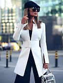 ราคาถูก เสื้อคลุมผู้หญิง-สำหรับผู้หญิง เสื้อคลุมสุภาพ, สีพื้น คอแสตนด์ เส้นใยสังเคราะห์ ขาว