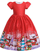 olcso Lány ruhák-Gyerekek Kisgyermek Lány Aktív aranyos stílus Mikulás Hóember Színes Hópehely Karácsony Pliszé Fűzős Nyomtatott Rövid ujjú Midi Ruha Rubin