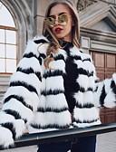 povoljno Ženski džemperi-Žene Dnevno Normalne dužine Faux Fur Coat, Prugasti uzorak Okrugli izrez Dugih rukava Umjetno krzno Obala