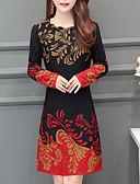 Χαμηλού Κόστους Print Dresses-Γυναικεία Κομψό στυλ street Κομψό Γραμμή Α Φόρεμα - Φλοράλ, Πλισέ Πάνω από το Γόνατο