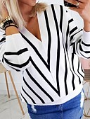 povoljno Nova moderna odjeća-Žene Prugasti uzorak Dugih rukava Pullover Džemper od džempera, V izrez Crn / Obala / Bež S / M / L
