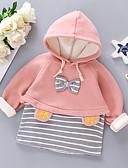 お買い得  赤ちゃん フーディーズ&スウェットシャツ-赤ちゃん 女の子 ベーシック ソリッド / ストライプ リボン 長袖 フーディーズ&スウェットシャツ ピンク
