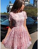 Χαμηλού Κόστους Λουλουδάτα φορέματα για κορίτσια-Γυναικεία Κομψό Γραμμή Α Φόρεμα - Φλοράλ Πάνω από το Γόνατο