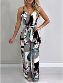 povoljno Ženski dvodijelni kostimi-Žene Osnovni Crn Jumpsuits, Cvjetni print Print S M L