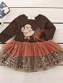 povoljno Haljinice za bebe-Dijete Djevojčice Osnovni Print Dugih rukava Haljina Braon