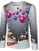 baratos Camisas Masculinas-Homens Camiseta Básico / Moda de Rua Estampado, Galáxia / Estampa Colorida / 3D Floco de Neve / Papai Noel / Boneco de Neve Cinzento