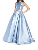 Χαμηλού Κόστους Βραδινά Φορέματα-Γραμμή Α Με Κόσμημα Ουρά Σατέν Κομψό Χοροεσπερίδα Φόρεμα 2020 με Χάντρες