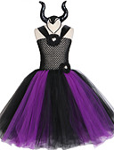 Χαμηλού Κόστους Φορέματα για κορίτσια-μαύρη φόρεμα φόρεμα tutu με deluxe κέρατα κορίτσια κακοποιός φανταχτερά παιδιά αποκριές cosplay κοστούμι μάγισσα